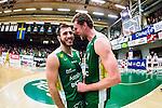 S&ouml;dert&auml;lje 2014-04-22 Basket SM-Semifinal 7 S&ouml;dert&auml;lje Kings - Uppsala Basket :  <br /> S&ouml;dert&auml;lje Kings Kristoffer Gafor och S&ouml;dert&auml;lje Kings Mantas Griskenas jublar efter matchen <br /> (Foto: Kenta J&ouml;nsson) Nyckelord:  S&ouml;dert&auml;lje Kings SBBK Uppsala Basket SM Semifinal Semi T&auml;ljehallen jubel gl&auml;dje lycka glad happy