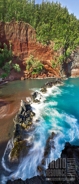 Red Sand Beach and Kaihalulu Bay in Hana, Maui.