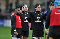 Niko Matawalu, Henry Thomas and Francois Louw of Bath Rugby look on during the pre-match warm-up. Aviva Premiership match, between Bath Rugby and Northampton Saints on December 5, 2015 at the Recreation Ground in Bath, England. Photo by: Patrick Khachfe / Onside Images