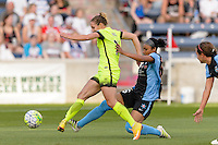 Chicago, IL - Sunday Sept. 04, 2016: Manon Melis, Samantha Johnson during a regular season National Women's Soccer League (NWSL) match between the Chicago Red Stars and Seattle Reign FC at Toyota Park.