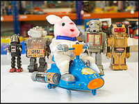 BNPS.co.uk (01202 558833)<br /> Pic: PhilYeomans/BNPS<br /> <br /> The duracell bunny from the 1990's is one of the most modern 'robots'<br /> <br /> Take me to your leader - out of this world collection of rudimentary robots from the earliest days of sci-fi.<br /> <br /> The huge collection of over 500 classic sci-fi toys dates back to the 1950's and 60's and could now be worth a whopping &pound;30,000.<br /> <br /> The huge collection was started by a robot mad schoolboy in the 1950's as the Russian Sputnik satellite kick started the race for space and sparked huge interest in science fiction.<br /> <br /> The oldest items date from the late 1950's with models continuing all the way through to the 1990s with several classic favourites included.<br /> <br /> There are a number of lots related to TV classic Thunderbirds and a model of Robbie the Robot, who featured in the TV series Lost in Space and the film Forbidden Planet remains in terrific condition.
