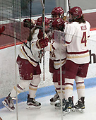 Caitrin Lonergan (BC - 11), Delaney Belinskas (BC - 17), Kristyn Capizzano (BC - 7), Megan Keller (BC - 4) -  The Boston College Eagles defeated the University of Vermont Catamounts 4-3 in double overtime in their Hockey East semi-final on Saturday, March 4, 2017, at Walter Brown Arena in Boston, Massachusetts.