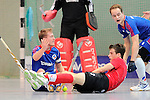 Mannheim, Germany, January 18: During the 1. Bundesliga Herren Hallensaison 2014/15 Sued hockey match between Mannheimer HC (blue) and TSV Mannheim (red) on January 18, 2015 at Irma-Roechling-Halle in Mannheim, Germany. Final score 4-6 (4-4). (Photo by Dirk Markgraf / www.265-images.com) *** Local caption *** Jan-Philipp Fischer #2 of Mannheimer HC, Nils Gruenenwald #3 of TSV Mannheim, Jonathan Ehling #9 of Mannheimer HC