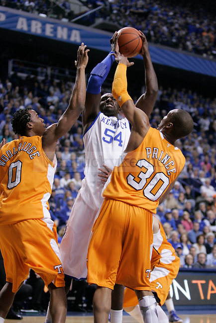 UK forward Patrick Patterson puts up a shot against Tennessee at Rupp Arena on Saturday, Feb. 13, 2010. Photo by Scott Hannigan | Staff