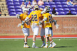 Matt Gregoire (22), Nate Lewnes (45) and Ty Kashur (26) celebrate a goal against the High Point Panthers at Vert Track, Soccer & Lacrosse Stadium on March 15, 2014 in High Point, North Carolina.  The Panthers defeated the Retrievers 17-15.   (Brian Westerholt/Sports On Film)