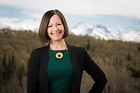 UAA Chancellor Cathy Sandeen photographed atop the Administration and Humanities Building.