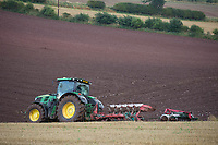 John Deere tractor ploughing stubble in the Scottish Borders<br /> &copy;Tim Scrivener Photographer 07850 303986<br /> ....Covering Agriculture In The UK....