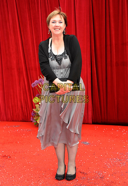 PAULINE QUIRKE .At the British Soap Awards 2011, Granada TV Studios, Manchester, England, UK, MaY 14th 2011..arrivals full length black grey gray dress shrug bolero clutch bag lace halterneck .CAP/DH.©David Hitchens/Capital Pictures.