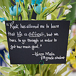 Student comments adorn a centerpiece at The Rusk School ribbon cutting ceremony, April 7, 2014.