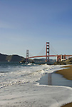 San Francisco: Baker Beach with Golden Gate Bridge in background.  Photo # 2-casanf83486.  Photo copyright Lee Foster