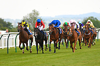 Winner of The Smith & Williamson Fillies' Novice Stakes (Div 1) Motivate Me (rails) ridden by Jack Mitchell and trained by Roger Varian  during Afternoon Racing at Salisbury Racecourse on 16th May 2019
