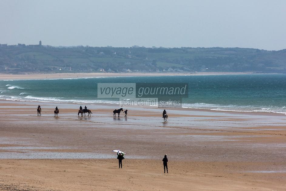Europe/France/Normandie/Basse-Normandie/50/Manche/ Vauville: l'Anse de Vauville: Plage     //   <br />   France, Manche, Vauville, the beach on the Anse de Vauville