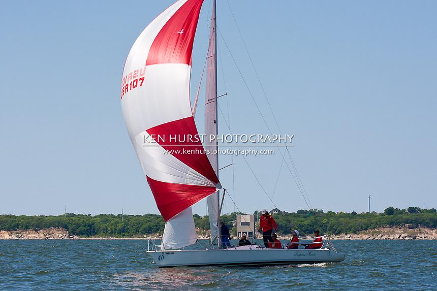 proprius munia, an 11 meter one design, racing at Texoma Sailing Club Lakefest Regatta 2011, 25th annual charity regatta at Lake Texoma, Denison, Texas.