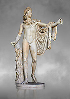 2nd century AD Roman statue of Apollo known as the Belvederre Apollo. The Apollo statue originally had a bow in its left hand and Apollo is depiceted having just fired an arrow.  Probably a Roman copy of a Hellenistic statue from around 330-320 BC by Leochares. Inv 1015, Vatican Museum Rome, Italy,  grey art background