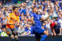 Kenneth Zohore of Cardiff City gets away from Tiago Ilori of Reading during the Sky Bet Championship match between Cardiff City and Reading at the Cardiff City Stadium, Cardiff, Wales on 6 May 2018. Photo by Mark  Hawkins / PRiME Media Images.