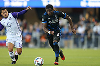 San Jose, CA - Wednesday May 17, 2017: Matías Pérez García, Kofi Sarkodie during a Major League Soccer (MLS) match between the San Jose Earthquakes and Orlando City SC at Avaya Stadium.