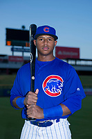 AZL Cubs Nelson Velazquez (20) poses for a photo before a game against the AZL Angels on August 31, 2017 at Sloan Park in Mesa, Arizona. AZL Cubs defeated the AZL Angels 9-2. (Zachary Lucy/Four Seam Images)