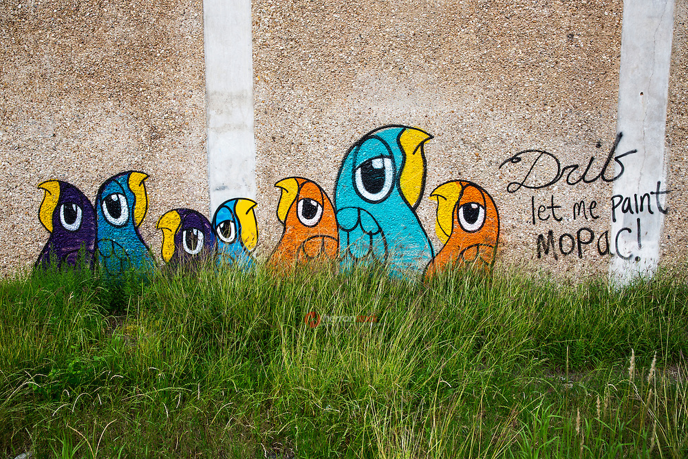 """""""Let me paint Mopac!"""" is a beloved graffiti painting on the side of the overpass at RM 2222 and Mopac north Austin, Texas by a new and mysterious graffiti artist know as Drib - Stock Image."""