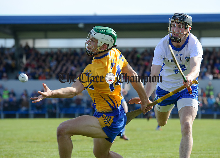 Aron Shanagher of Clare  in action against Barry Coughlan of Waterford  during their National League game at Cusack Park. Photograph by John Kelly.