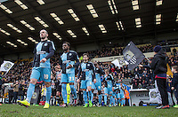 Michael Harriman (19) of Wycombe Wanderers heads onto the pitch with teammates during the Sky Bet League 2 match between Notts County and Wycombe Wanderers at Meadow Lane, Nottingham, England on 28 March 2016. Photo by Andy Rowland.