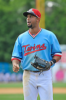 Aaron Hicks (32) of the New Britain Rock Cats during a game against the Reading Fightin Phils at New Britain Stadium on June 22, 2014 in New Britain, Connecticut.  New Britain defeated Reading 5-3.   (Gregory Vasil/Four Seam Images)