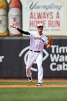 Erie Seawolves shortstop JaCoby Jones (12) throws to first during a game against the Harrisburg Senators on August 30, 2015 at Jerry Uht Park in Erie, Pennsylvania.  Harrisburg defeated Erie 4-3.  (Mike Janes/Four Seam Images)