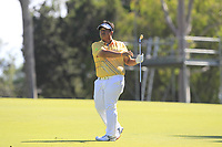 Kiradech Aphibarnrat (THA) in action on the 18th during Round 2 of the ISPS Handa World Super 6 Perth at Lake Karrinyup Country Club on the Friday 9th February 2018.<br /> Picture:  Thos Caffrey / www.golffile.ie<br /> <br /> All photo usage must carry mandatory copyright credit (&copy; Golffile | Thos Caffrey)