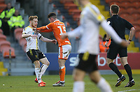 Referee Thomas Bramall shows a yellow card to Blackpool's Jordan Thompson for this push on Burton Albion's Stephen Quinn after being fouled<br /> <br /> Photographer Stephen White/CameraSport<br /> <br /> The EFL Sky Bet League One - Blackpool v Burton Albion - Saturday 24th November 2018 - Bloomfield Road - Blackpool<br /> <br /> World Copyright © 2018 CameraSport. All rights reserved. 43 Linden Ave. Countesthorpe. Leicester. England. LE8 5PG - Tel: +44 (0) 116 277 4147 - admin@camerasport.com - www.camerasport.com