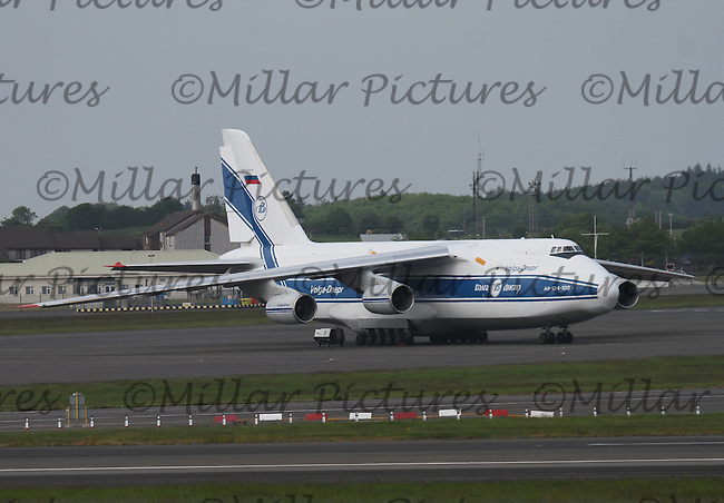 A Volga-Dnepr Airlines Antonov An-124-100 Registration RA-82043 parked at Glasgow Prestwick Airport on 4.6.16.