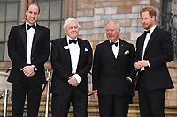 "Prince William, Sir David Atenborough, Prince Charles  and Prince Harry<br /> arriving for the world premiere of ""Our Planet"" at the Natural History Museum, London<br /> <br /> ©Ash Knotek  D3491  04/04/2019"