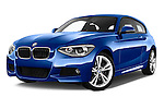Low aggressive front three quarter view of a 2012 - 2014 BMW 1-Series 118d M Sport 3 Door Hatchback 2WD.