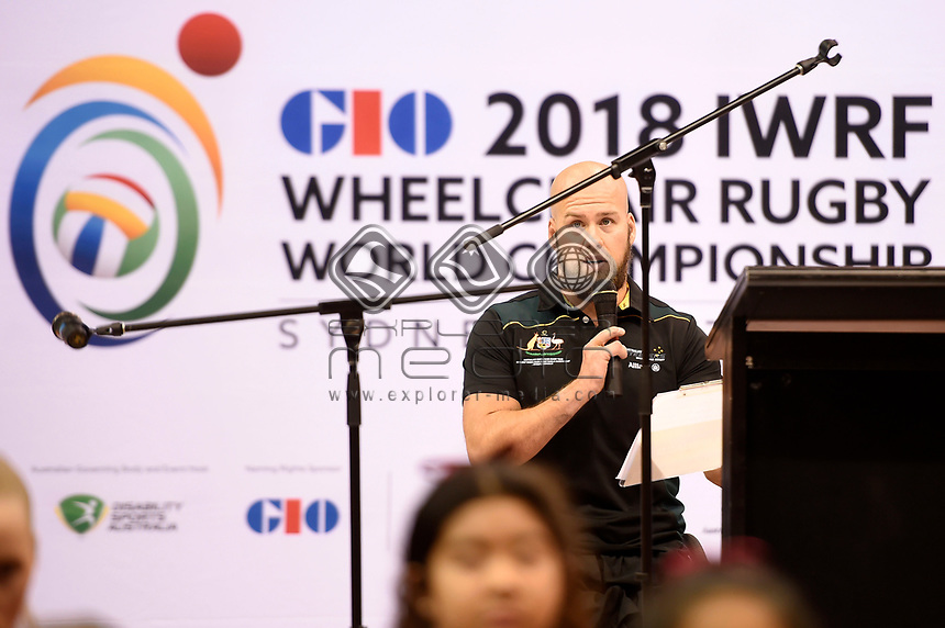 Opening Ceremony - Ryley Batt (Aus)<br /> Australian Wheelchair Rugby Team<br /> 2018 IWRF WheelChair Rugby <br /> World Championship / Day 1<br /> Sydney  NSW Australia<br /> Sunday 5th August 2018<br /> © Sport the library / Jeff Crow / APC