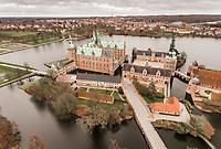Frederiksborg Slot i Hillerød set fra drone.<br /> Foto: Jens Panduro