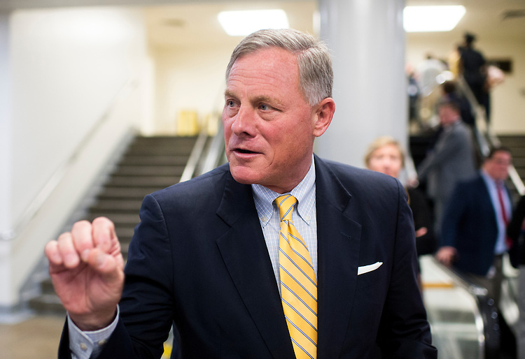 UNITED STATES - SEPTEMBER 15: Sen. Richard Burr, R-N.C., speaks with a reporter as he leaves the Capitol following a vote on Thursday, September 15, 2016. (Photo By Bill Clark/CQ Roll Call)