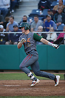 Danny Jipping (45) of the Boise Hawks bats against the Everett AquaSox at Everett Memorial Stadium on July 20, 2017 in Everett, Washington. Everett defeated Boise, 13-11. (Larry Goren/Four Seam Images)