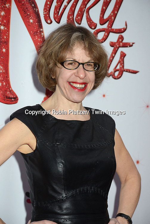"Jackie Hoffman arrives at the ""Kinky Boots"" Broadway Opening on April 4, 2013 at The Al Hirschfeld Theatre in New York City. Harvey Fierstein wrote is the Book Writer and Cnydi Lauper is the Composer."