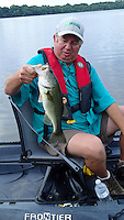 NWA Democrat-Gazette/FLIP PUTTHOFF <br /> Mike McBride used a spinner bait June 24, 2016 to catch this Lake Sequoyah largemouth bass.
