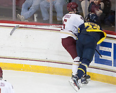 Casey Fitzgerald (BC - 5), Mathieu Tibbet (Merrimack - 22) - The visiting Merrimack College Warriors defeated the Boston College Eagles 6 - 3 (EN) on Friday, February 10, 2017, at Kelley Rink in Conte Forum in Chestnut Hill, Massachusetts.