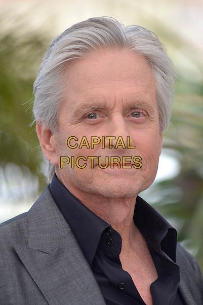 Michael Douglas.'Behind the Candelabra' photocall  at the 66th  Cannes Film Festival, France 21st May 2013.headshot portrait black shirt grey gray jacket suit stubble facial hair.CAP/PL.©Phil Loftus/Capital Pictures.