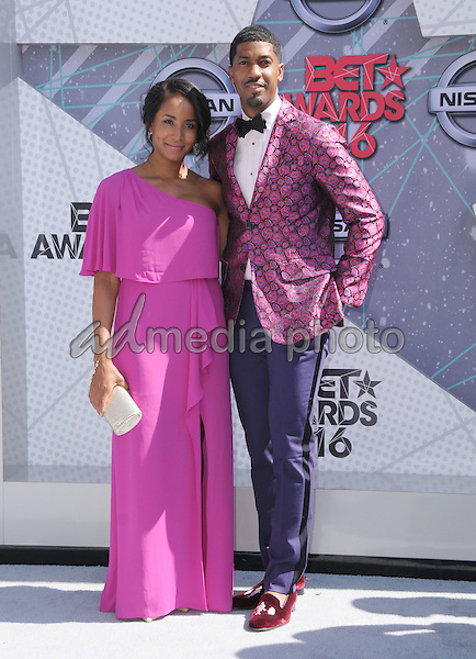 26 June 2016 - Los Angeles. Faune Chambers, Farnsworth Bentley. Arrivals for the 2016 BET Awards held at the Microsoft Theater. Photo Credit: Birdie Thompson/AdMedia