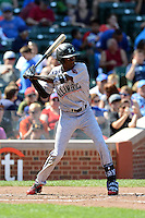 Outfielder Marcus Wilson (8) of Junipero Serra High School in Los Angeles, California during the Under Armour All-American Game on August 24, 2013 at Wrigley Field in Chicago, Illinois.  (Mike Janes/Four Seam Images)
