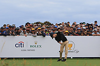 Joaquin Niemann (International) on the 10th tee during the First Round - Four Ball of the Presidents Cup 2019, Royal Melbourne Golf Club, Melbourne, Victoria, Australia. 12/12/2019.<br /> Picture Thos Caffrey / Golffile.ie<br /> <br /> All photo usage must carry mandatory copyright credit (© Golffile | Thos Caffrey)
