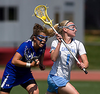 Laura Zimmerman (1) of North Carolina takes a shot in front of Kim Wenger (16) of Duke during the ACC women's lacrosse tournament semifinals in College Park, MD.  North Carolina defeated Duke, 14-4.