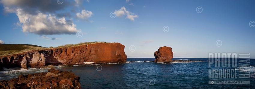 Sweetheart Rock, or Pu'u Pehe Rock, one of Lanai's legendary tourist attractions, near Hulopo'e Bay