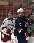 Ryan Donato (Harvard - 16), Tommy Miller (NTDP - 12) - The Harvard University Crimson defeated the US National Team Development Program's Under-18 team 5-2 on Saturday, October 8, 2016, at the Bright-Landry Hockey Center in Boston, Massachusetts.