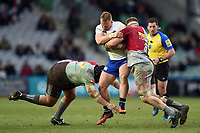 Will Hurrell of Bath Rugby takes on the Harlequins defence. Aviva Premiership match, between Harlequins and Bath Rugby on March 2, 2018 at the Twickenham Stoop in London, England. Photo by: Patrick Khachfe / Onside Images