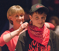 """One of the mums helping with costumes.  Special Olympics Surrey put on a show,   """"Beyond the Stars"""", at the Rose Theatre, Kingston upon Thames to raise money for the  SOGB team.  The Special Olympics are for athletes with learning disabilities."""