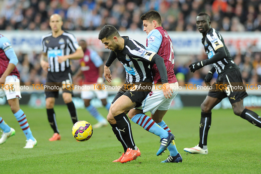 Mehdi Abeid of Newcastle United battles with Ashley Westwood of Aston Villa - Middlesbrough vs Leeds United - Sky Bet Championship Football at the Riverside Stadium, Middlesbrough - 28/02/15 - MANDATORY CREDIT: Steven White/TGSPHOTO - Self billing applies where appropriate - contact@tgsphoto.co.uk - NO UNPAID USE