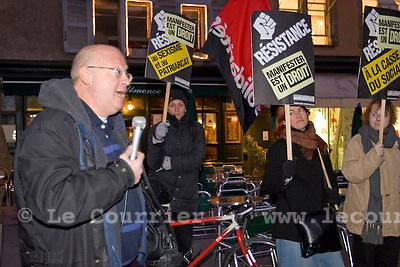 Genève, le 27.01.2009.Rassemblement contre l'interdiction de manifester contre le WEF et le droit à la liberté d'expression..Pierre Vanek..© Le Courrier / J.-P. Di Silvestro
