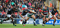 Leicester Tigers' George Ford breaks clear of Newcastle Falcons' Gary Graham and Sami Mavinga (left) <br /> <br /> Photographer Stephen White/CameraSport<br /> <br /> Gallagher Premiership Round 2 - Leicester Tigers v Newcastle Falcons - Saturday September 8th 2018 - Welford Road - Leicester<br /> <br /> World Copyright &copy; 2018 CameraSport. All rights reserved. 43 Linden Ave. Countesthorpe. Leicester. England. LE8 5PG - Tel: +44 (0) 116 277 4147 - admin@camerasport.com - www.camerasport.com